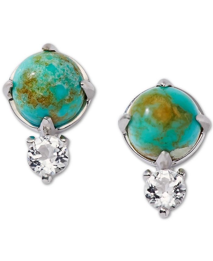 AVA NADRI - Silver-Tone Turquoise (8mm)& Crystal Stud Earrings