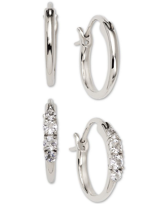 AVA NADRI - Silver-Tone 2-Pc. Set Small Polished & Crystal Hoop Earrings, 0.5""
