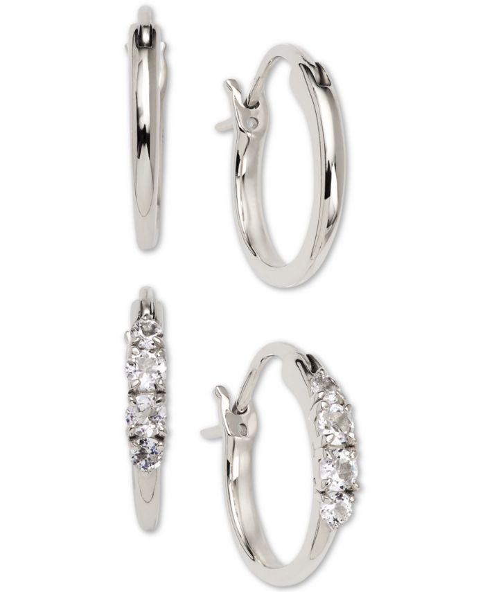 "AVA NADRI 2-Pc. Set Small Polished & Crystal Hoop Earrings, 0.5"" & Reviews - Earrings - Jewelry & Watches - Macy's"