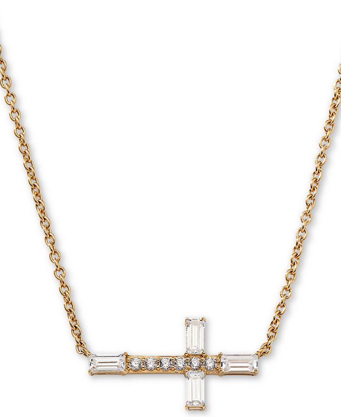"AVA NADRI - 18k Gold-Plated Cubic Zirconia East-West Cross Pendant Necklace, 16"" + 1"" extender"