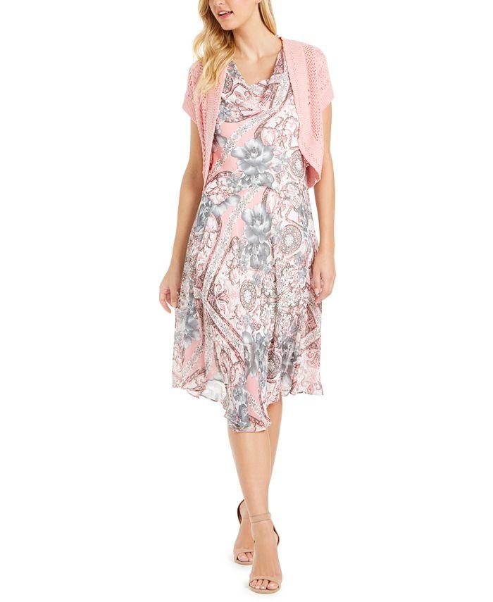 Robbie Bee - Petite Floral-Print Dress & Crochet Shrug