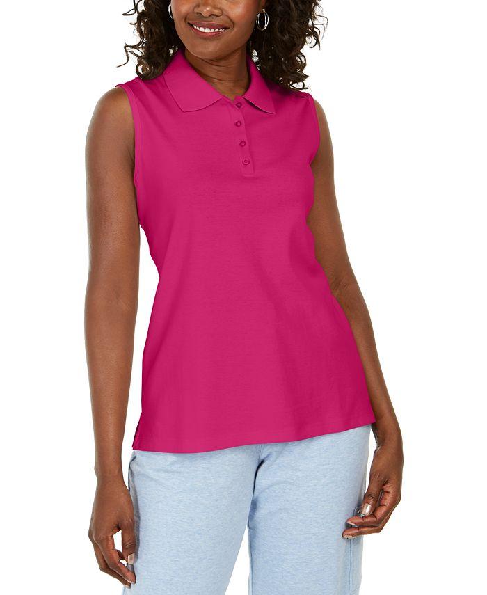Karen Scott Cotton Sleeveless Polo Shirt, Created for Macy's ...