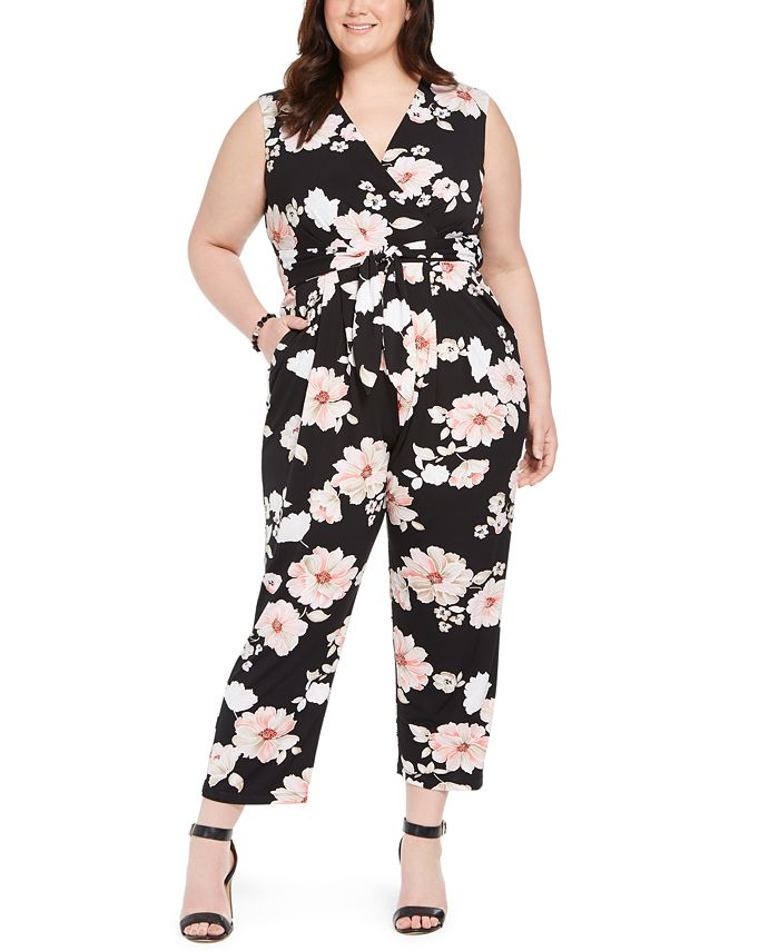 Jessica Howard - Plus Size Floral Jersey Jumpsuit