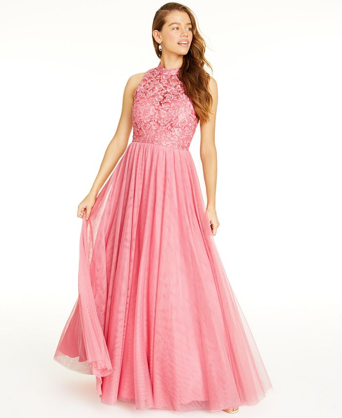 City Studios - Juniors' Embroidered-Floral Gown