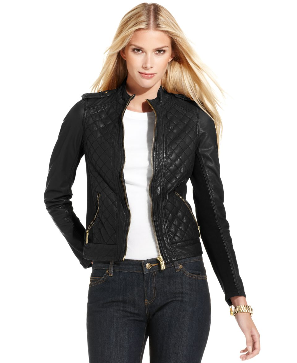 MICHAEL Michael Kors Quilted Leather Motorcycle Jacket   Jackets & Blazers   Women