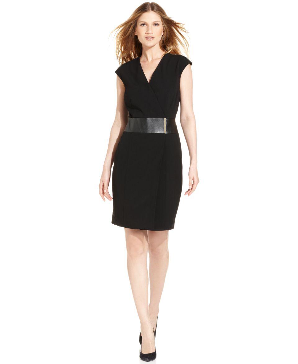 Calvin Klein Faux Leather Wrap Dress   Dresses   Women