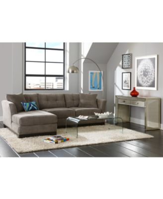 Elliot Fabric Microfiber 2-Piece Chaise Sectional Sofa  sc 1 st  Macyu0027s : elliot sectional sofa 3 piece chaise - Sectionals, Sofas & Couches