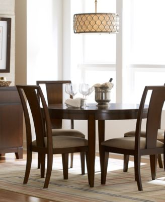 Prescot Dining Room Furniture 7 Piece Set Round Table And 6 Panel Back Chairs