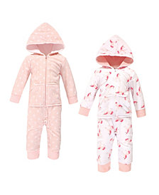 Hudson Baby Baby Girls Unicorn Fleece Jumpsuits, Coveralls and Playsuits, Pack of 2