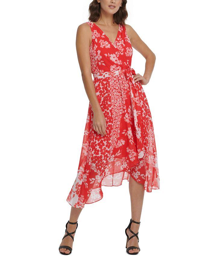 DKNY - Floral Chiffon Wrap Dress