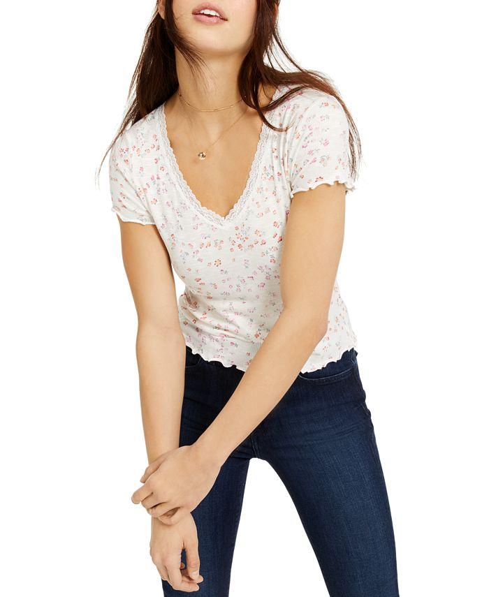 Hippie Rose - Juniors' Printed Lace-Trimmed Lettuce-Edge T-Shirt
