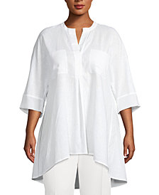 Anne Klein Plus Size Linen High-Low Top