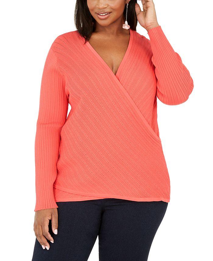 INC International Concepts - Plus Size Pointelle Surplice Sweater