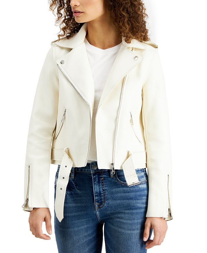 Vigoss Jeans - Belted-Hem Moto Jacket