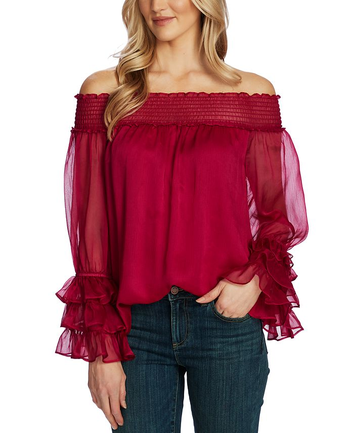 CeCe - Ruffled Bell-Sleeve Off-The-Shoulder Top
