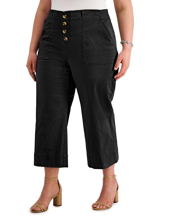 INC International Concepts - Plus Size Button-Front Culotte Pants