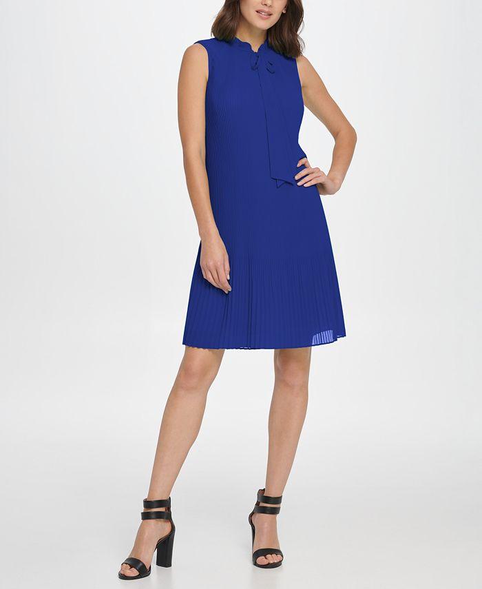 DKNY - Sleeveless Pleated Tie Neck Shift Dress