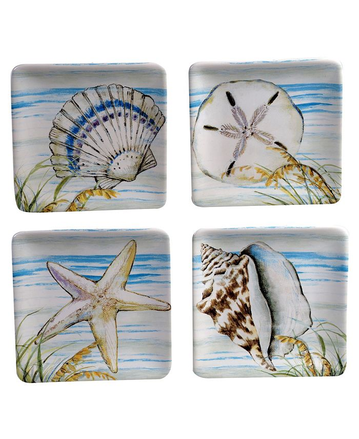 Certified International - By the Sea 4-Pc. Canape Plates asst.