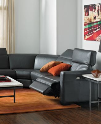 Nicolo 5 Piece Leather Reclining Sectional Sofa (2 Power Recliner Chairs,  Power Recliner