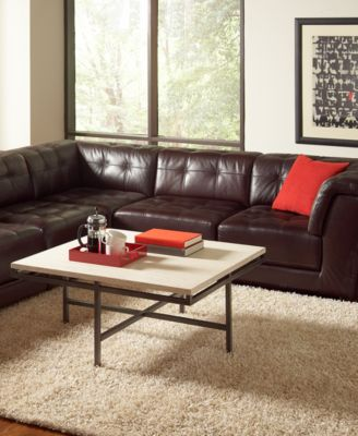 stacey leather 6piece modular sectional sofa 3 armless chairs 2 square corners