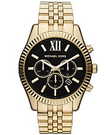 Michael Kors Men's Chronograph Lexington Gold-Tone Stainless Steel Bracelet Watch 45mm MK8286