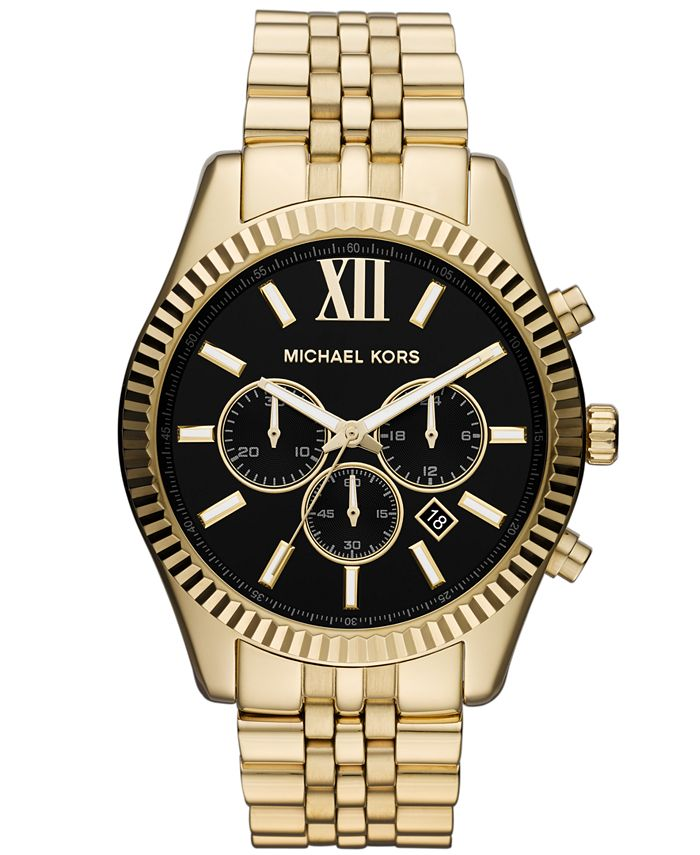 Michael Kors - Men's Chronograph Lexington Gold-Tone Stainless Steel Bracelet Watch 45mm MK8286