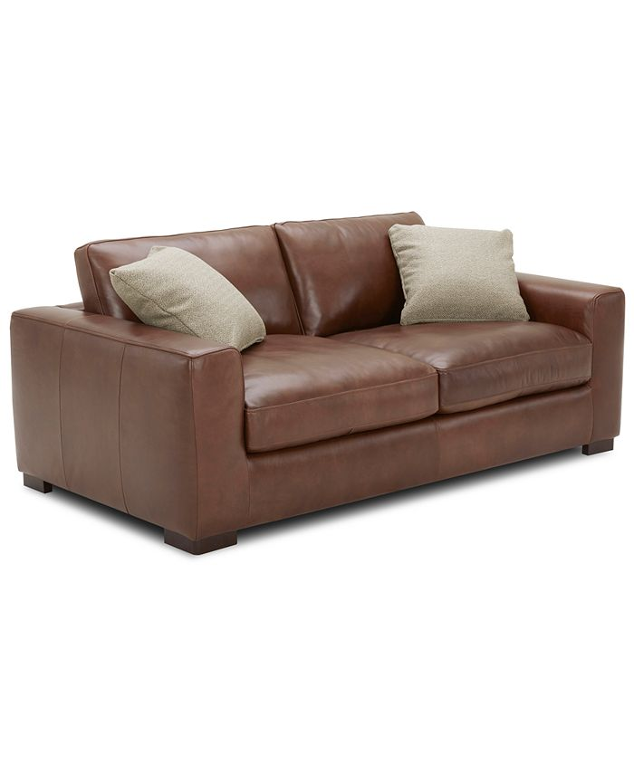 """Furniture - Chelby 75"""" Leather Apartment Sofa"""