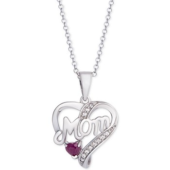 Macy's Ruby Mom Heart 18 Inch Pendant Necklace (1/3 ct. t.w.)