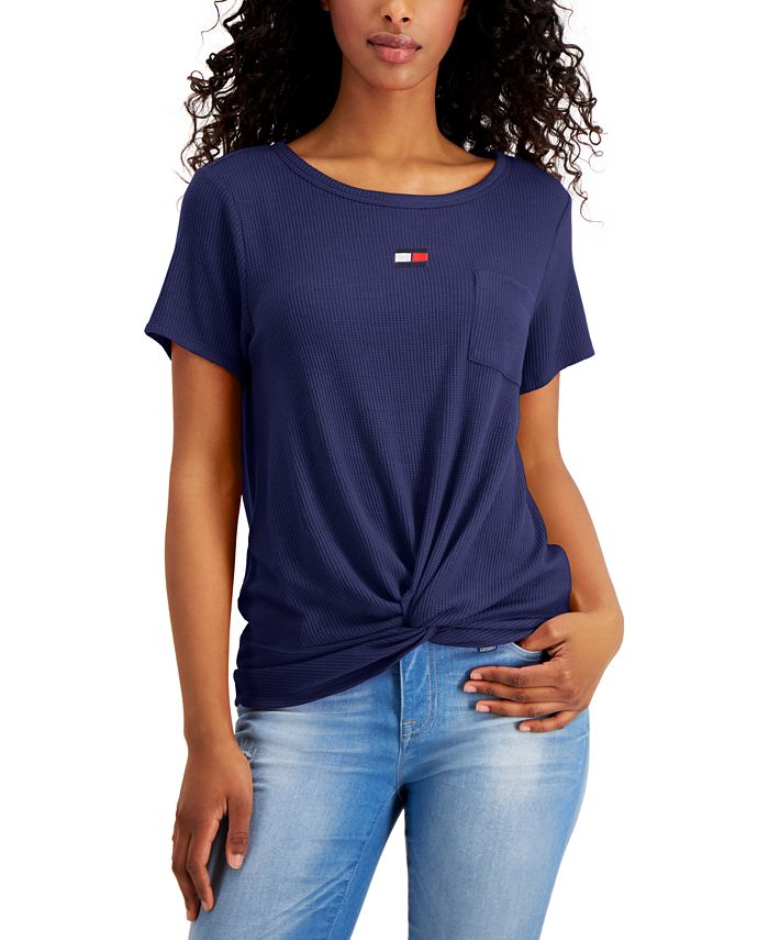 Tommy Hilfiger - Twist-Front Waffle-Knit Top