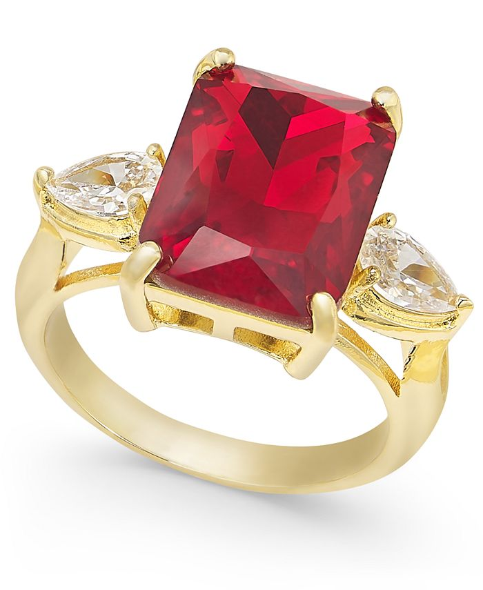Charter Club - Gold Plate Crystal & Stone Ring