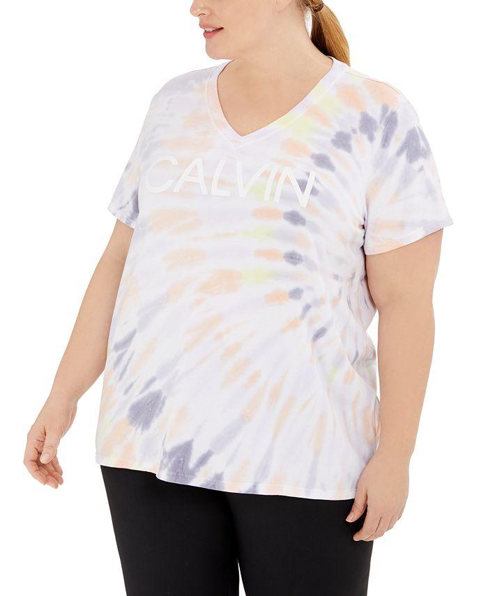 Calvin Klein - Plus Size V-Neck Tie-Dyed Logo T-Shirt
