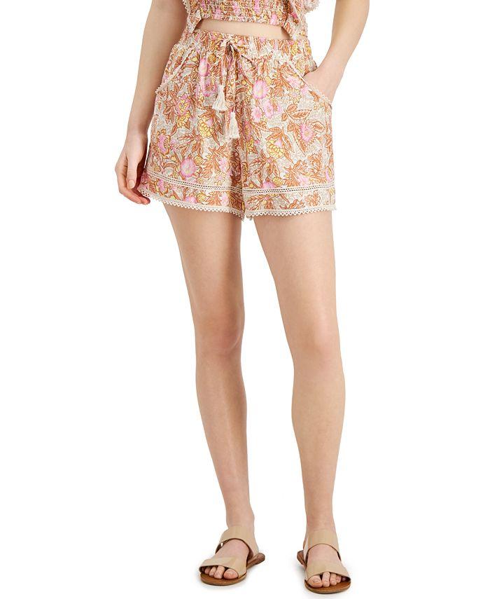 Vanilla Star - Juniors' Printed Lace-Trim Shorts