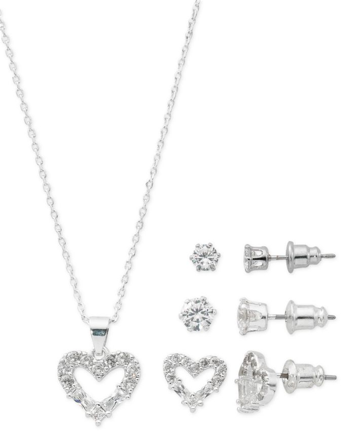 """Macy's Fine Silver Plate Cubic Zirconia Heart Necklace and Stud Earring Set, 18"""" + 3"""" extender  & Reviews - Fashion Jewelry - Jewelry & Watches - Macy's"""