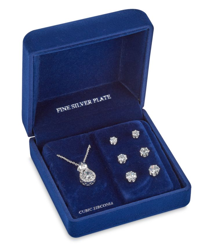 """Macy's Fine Silver Plate Cubic Zirconia Necklace and Stud Earring Set, 18"""" + 3"""" extender  & Reviews - Fashion Jewelry - Jewelry & Watches - Macy's"""