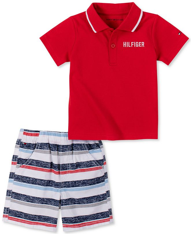 Tommy Hilfiger Baby Boys Polo and Striped Short Set