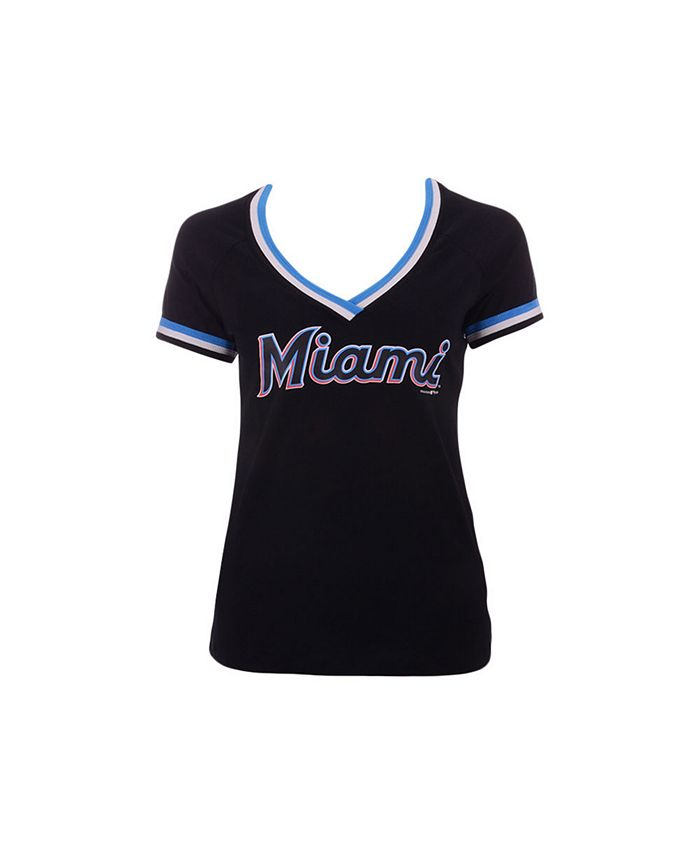 5th & Ocean - Women's Miami Marlins Contrast Binding T-Shirt