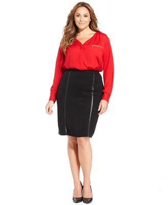 alfani plus size longsleeve zippocket blouse amp faux
