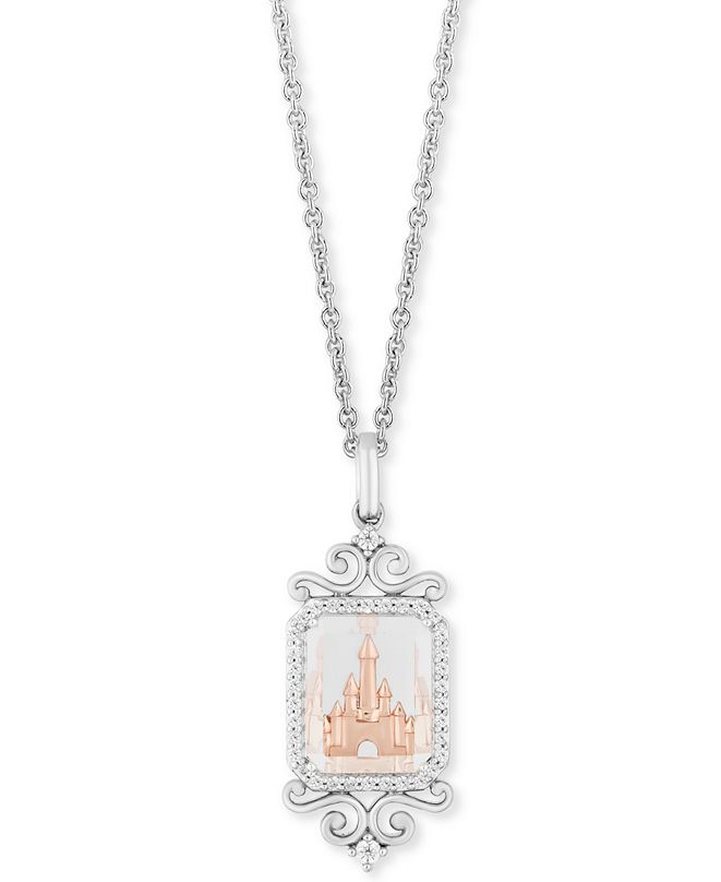 """Enchanted Disney Fine Jewelry Enchanted Disney Diamond (1/6 ct. t.w.) & White Topaz (4-1/2 ct. t.w.) Majestic Princess Castle Pendant Necklace in Sterling Silver & 14k Rose Gold, 16"""" + 2"""" Extender"""""""