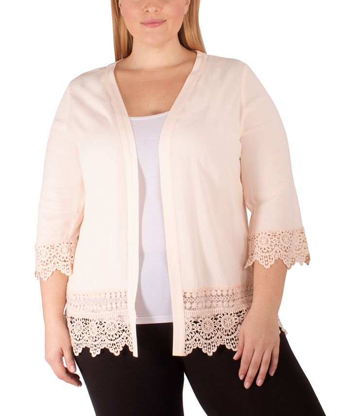 NY Collection - Plus Size Crochet-Trim Cardigan