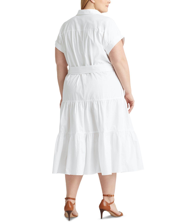 Lauren Ralph Lauren Plus Size Fit-And-Flare Shirtdress & Reviews - Dresses - Plus Sizes - Macy's