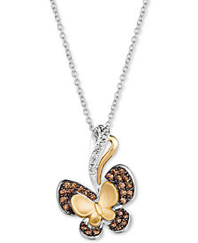 "Le Vian® Diamond Butterfly 18"" Pendant Necklace (1/3 ct. t.w.) in 14k Gold & 14k White Gold"
