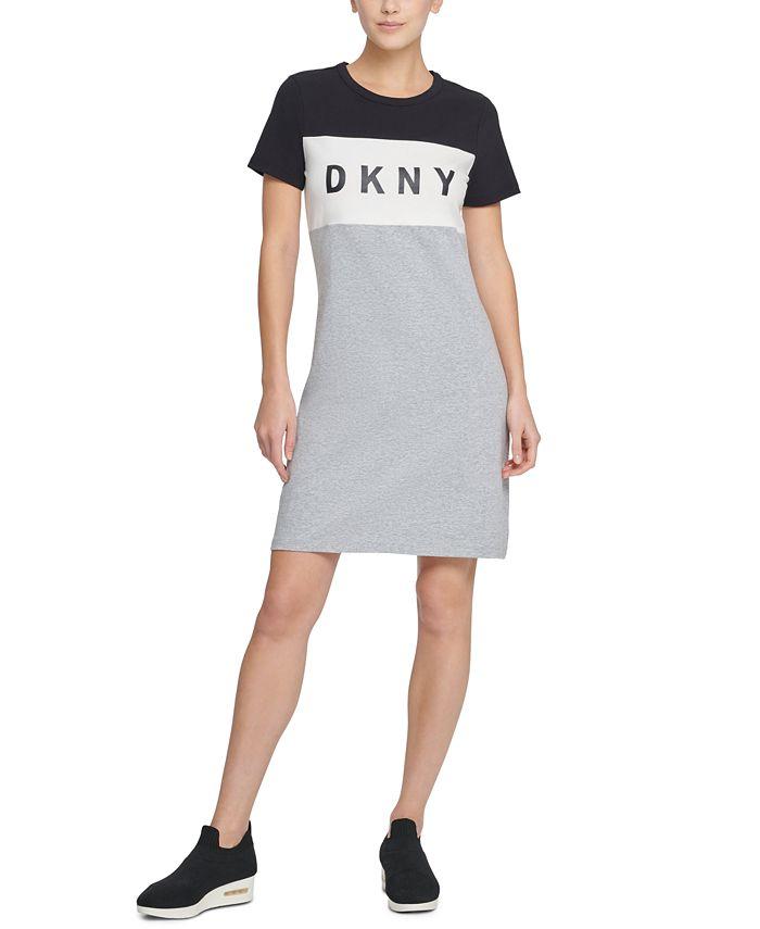 DKNY - Colorblocked Logo T-Shirt Dress
