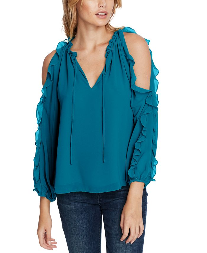 1.STATE - Ruffled Cold-Shoulder Blouse