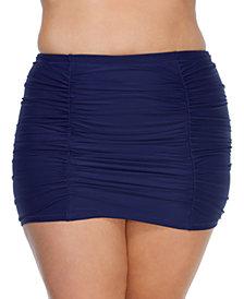 Raisins Curve Trendy Plus Size Juniors' Solid Costa Swim Skirt