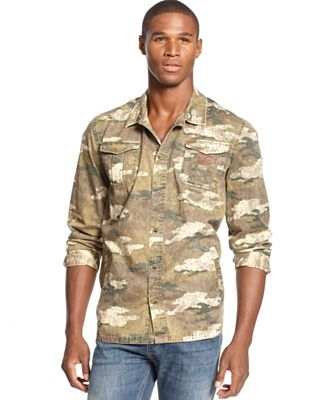 3rd And Army Shirt Camo Print Button Down Casual Button