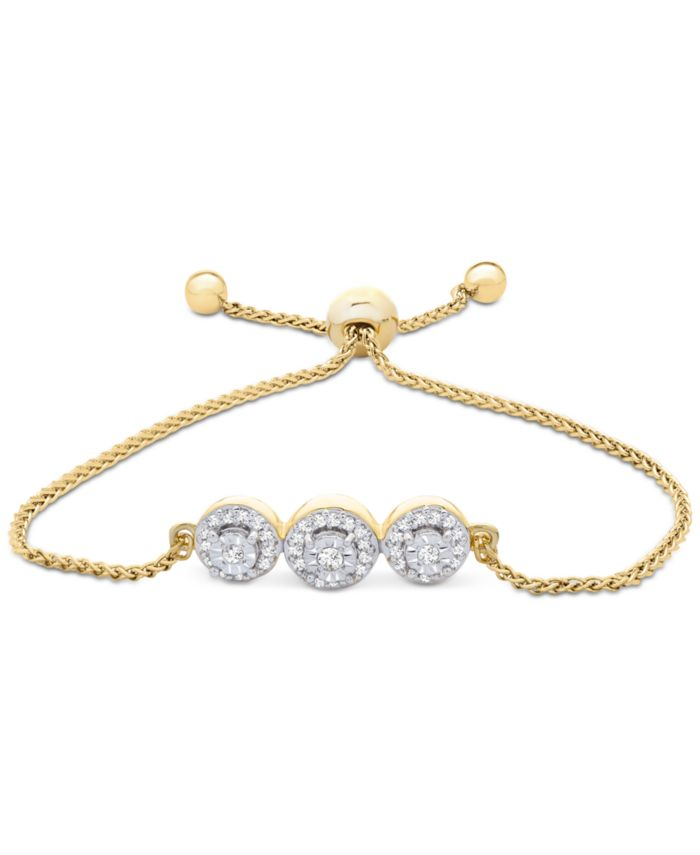 Wrapped Diamond Cluster Bolo Bracelet (1/6 ct. t.w.) in 14k Gold-Plated Sterling Silver, Created for Macy's & Reviews - Bracelets - Jewelry & Watches - Macy's