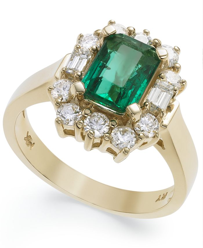 Macy's - 14k Gold Ring, Emerald (1-5/8 ct. t.w.) and Diamond (3/4 ct. t.w.) Ring