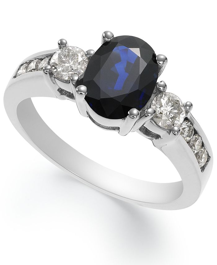 Macy's - 14k White Gold Ring, Sapphire (1-1/2 ct. t.w.) and Diamond (1/2 ct. t.w.) Oval Ring