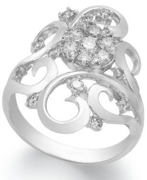 Diamond Diamond Scroll Ring (3/4 ct. t.w.) in 14k White Gold