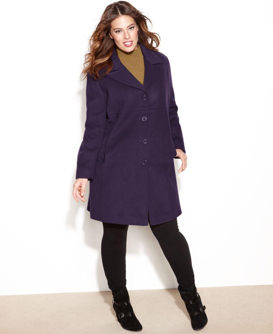 242a5ff326d Ellen Tracy Plus Size Wool Angora Blend A Line Walker Coat Coats Women